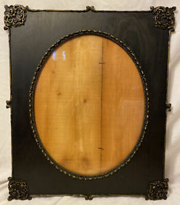 Antique Victorian Ebonized Wood Picture Frame Wavy Glass Oval Flat Panel 26 X 22