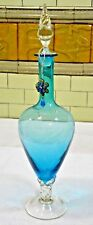 "Stunning vintage Murano Blue  Decanter 21"" Mid Century Hand Blown"