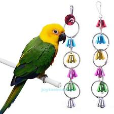 Colorful Pet Bird Metal Ring Bell Parrot Parakeet Cage Hanging Activity Play Toy