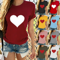 Fashion Women Ladies Short Sleeve T Shirt Tops Blouse Heart Printed Casual  Tee