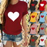 Fashion Women Ladies Short Sleeve T Shirt Tops Blouse Heart Printed Casual  Tee#