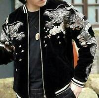 Mens bomber Souvenir Jacket Japanese Pattern Embroidery Sukajan Velvet Dragon