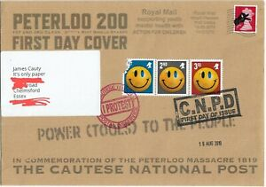 Smiley Face Riot Shield Banksy Dismaland 1st Day Cover addressed to James Cauty.