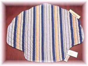 4 Longaberger Cabana Blue Stripe Quilted Placemat Clam Shell Nautical New Tags