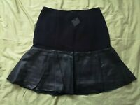 Ted Baker Women's Black Leather Trim Frill Skirt Size 0 New With Tags