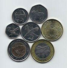 BOTSWANA 2013 SEVEN HIGH GRADE ANIMALS & FAUNA UNC COINS SET 5 THEBE TO 5 PULA