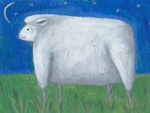 ACEO painting white sheep under the moon and stars Outsider folk art SFStudio