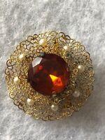 1940s Amber Glass Brooch Faux Pearl Czech Filigree Vintage Retro Czechoslovakia