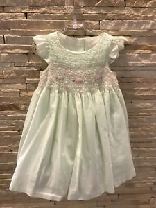 Janie and Jack beautiful rare VHTF Strawberry Fiels green smoked dress sz 2T EUC