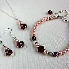 Burgundy pink crystal pearl necklace bracelet earrings wedding bridesmaid set