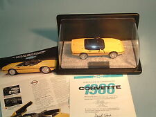 CORVETTE 1986 CHEVROLET YELLOW CORVETTE FRANKLIN MINT 1:24 DIECAST & DISPLAY