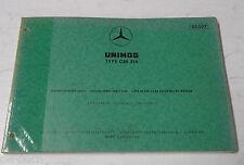 Teilekatalog Spare Parts List Mercedes Benz Unimog Type OM 314 Motor St.07-1973