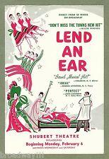 """Smash Musical Hit """"LEND AN EAR"""" Shubert Theatre, Philadelphia 1950 Flyer"""
