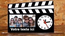 Horloge de bureau style clap cinema personnalisée 2 photos de votre choix