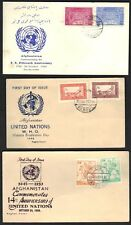 """AFGHANISTAN 1959-60 UN 14th & 15th ANNIV. AND """"W.H.O."""" THREE FDC's TWO W/ IMPERF"""