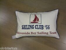 SAILING CLUB YACHT WHITE NAUTICAL FEATHER FILLED COTTON CUSHION 40cm x 60cm