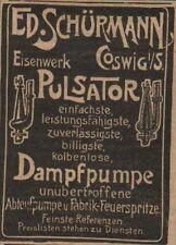Coswig, publicidad/visualización 1902, ed. Schürmann hierro obra pulsador bomba de vapor