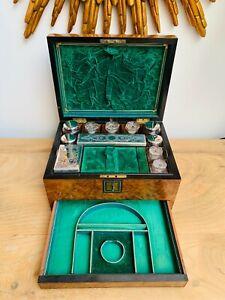 Antique Burr Walnut Vanity Box with Hidden Jewellery Compartment c.1860