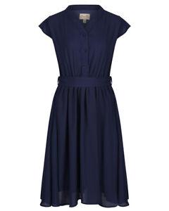 Lindy Bop 'Kody' Classic Navy Blue Vintage 40s Tea Dress BNWT w Pockets Size 12