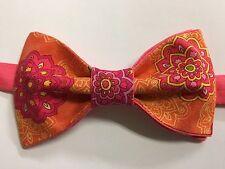 Custom Mens Orange/Pink Floral Bow Tie Pre-tied Adjustable Handmade bowtie