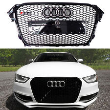 For Audi 13-16 A4 S4 B8.5 Euro RS4 Front Grill AII Gloss Black Grille Black Trim