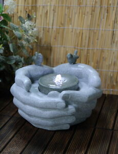Cupped Hands Indoor Outdoor Polyresin Water Fountain Feature LED Lights Garden