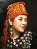 ZWPT739 100% hand-paint chinese minority decor art oil painting on canvas