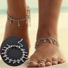 Flower Small Bells Ball Tassel Anklets Women Chain Ankle Bracelet Antique Silver
