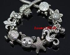Wholesale 100 Tibetan Silver Bulk Lots Mix Beads Fit Charm Bracelet (Lead Free)