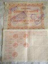 Vintage share certificate Stocks Bonds Charbonnages de Prokhorow 1905 coal mines