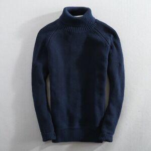 Turtleneck Knitwear Tops Pullover Jumper Long sleeve Knitted Sweaters Mens Warm