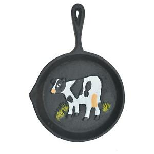 """Cast Iron Skillet Wall Hanging Holstein Dairy Cow Frying Pan Farm Decor 7.75"""" L"""