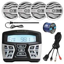 "Marine Bluetooth AM/FM Radio, 4x 6.5"" Speakers, 50 Ft Wire, Antenna, USB Mount"