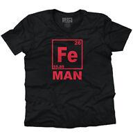 Fe Man Iron Chemistry Periodic Table Geek Nerd Gift V-Neck T-Shirt
