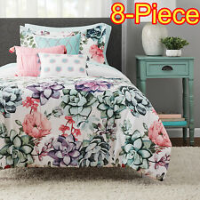 New 8 Piece Jade Floral Twin / Twin Xl Size Comforter Set Bed in a Bag Sheets