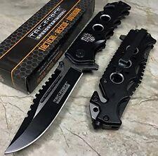 "TAC FORCE Spring Assisted Skull Folding Knife Two Tone Blade Black Handle 4.5"""