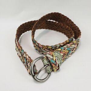Fossil Women's Size L Multi Color Leather Woven Belt