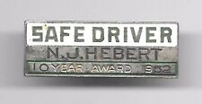 1952 PERSONALIZED STERLING SILVER 10-YEAR SAFE DRIVER AWARD PIN -- BUS DRIVER?