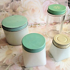Vintage Avon Cream Product Jars Lot of 3 Milkglass Jars & 1 Small Clear Jar