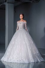 Lace-White-Ivory-Wedding-Dress-Bridal-Ball-Gown-Custom-Size-4-6-8-10-12-14-16-18