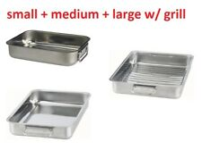 3 IKEA KONCIS Stainless Steel Roasting Tin Baking Pan Small Medium Large Mix Set