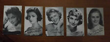 1950's 5 Postcard SIZE Starlet Cards - Good Condition