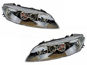 Pair Headlights Mazda 6 GG/GY 03/2005-11/2007 New Front Lamps BLACK 05 06 07