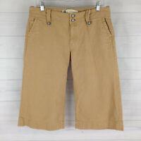 GAP Women Size 8 Beige Striped 100% Cotton Flap Low Rise Cropped Capri Jeans EUC