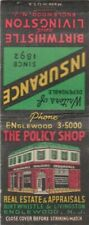 REAL ESTATE & APPRAISALS-THE POLICY SHOP-MATCHBOOK-ONE 1/2 INCHES WIDTH-VINTAGE-