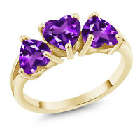 5.19 Ct Heart Shape Purple Amethyst 18K Yellow Gold Plated Silver Ring