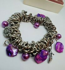 Stretchy silver bead charm bracelet mother of pearl Leaf heart dragonfly flower
