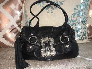 B Makowsky Black Leather Handbag Beautiful Silver Buckle