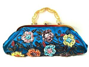 "Evening Bag Handbag Turquoise Satin Beaded Flowers Purse Lined 5.5"" Tall"