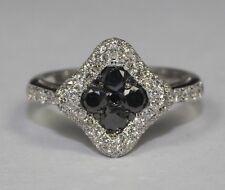 14k White Gold 60 White Diamond And 9 Black Diamond 1.15ct solitaire Ring Size 7